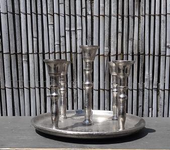 schaal-kandelaar-5armig-zilver